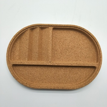 New design wholesale set of 2 cork serving tray snack tray