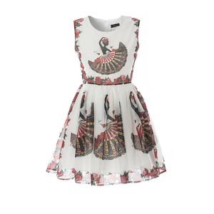 Red Rose Flower Print High Quality Pleated Skirt Organdy Voile Skater Dress
