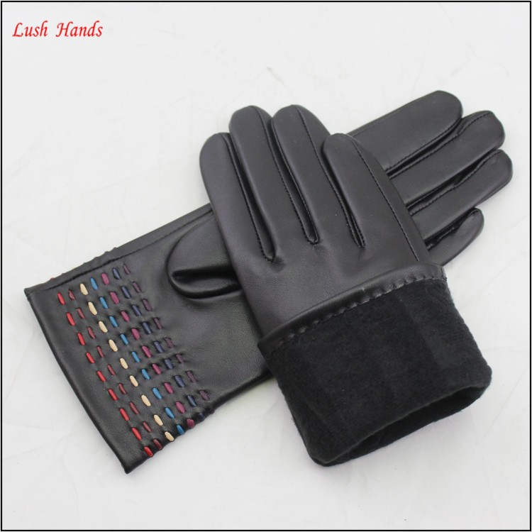 ladies wholesale genuine sheepskin leather hand gloves with colour bar