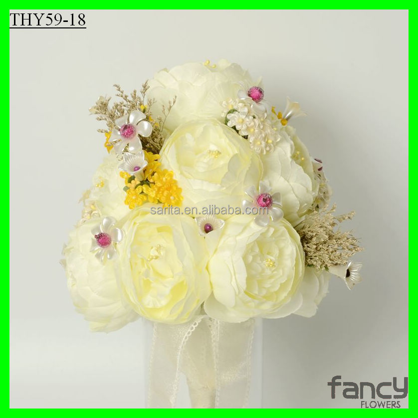 38cm height Ivory color artificial peony silk flower wedding bouquet