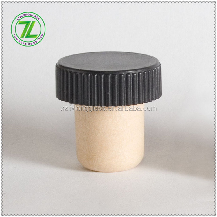 T-top cork Synthetic Cork Closure with Ribbed Black Plastic Cap