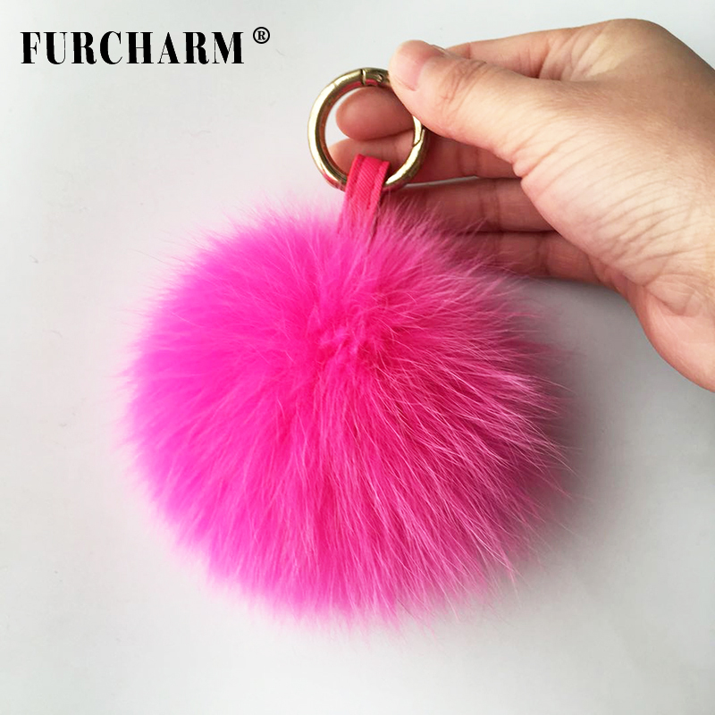 2018 New Promotional <strong>Fox</strong> <strong>Fur</strong> <strong>Ball</strong> <strong>Fur</strong> Pom <strong>Keychain</strong> with Real <strong>Fur</strong> Pompom