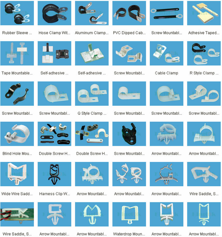 Plastic Tie Mount R Type Cable Clamp Nylon 66 Material Nylon ... on trailer wiring clips, electric ford harness clips, safety harness clips,