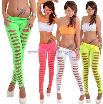 Womens european super sexy candy color skiny slim hole pants leggings