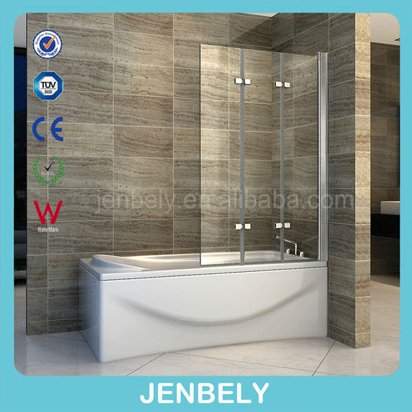 3 Glass Panel Curved Folding Bath Shower Screen