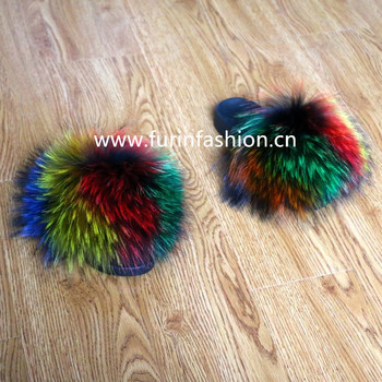 perfect wholesale fashionable sandals fur slides custom logo rainbow