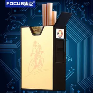 Yanzhen YH030 direct easy to carry pull-down smoke metal windproof USB charging cigarette lighter lighter cigarette case