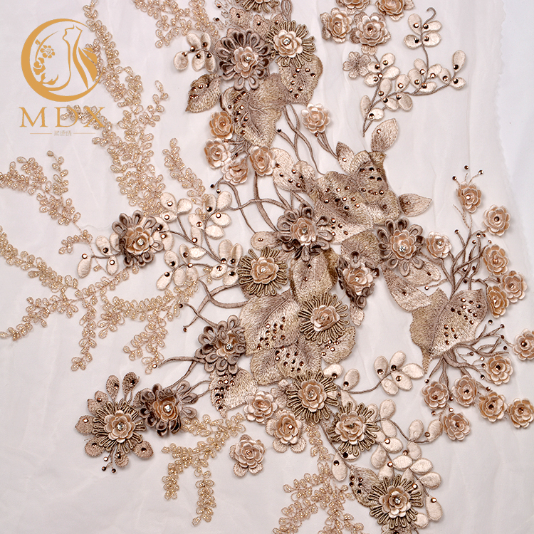 White hand embroidery bridal luxury wedding dress lace fabric for sale