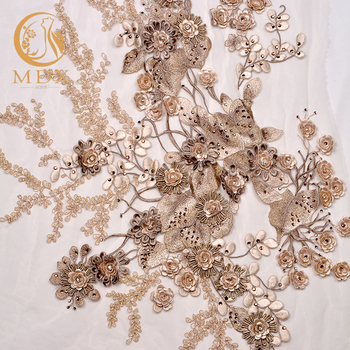 White Hand Embroidery Bridal Luxury Wedding Dress Lace Fabric For