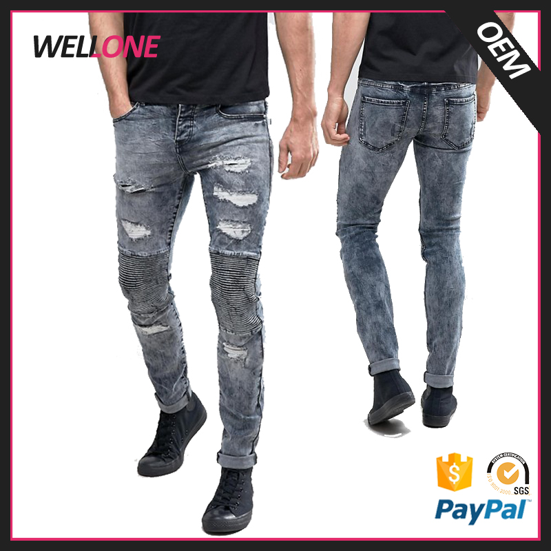 China factory fade black rips skinny motocycle five pockets custom made distressed men biker jeans