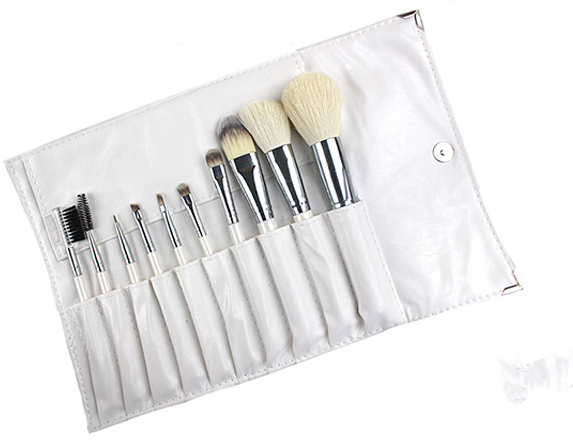 New arrive professional makeup brush set goat hair make up brushes white handle with PU bag