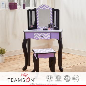 Brilliant Teamson Kids Fashion Prints Purple Chevron Vanity Table Stool Set Buy Kids Furniture Vanity Set Dressing Table High Quality Kids Vanity Table Ibusinesslaw Wood Chair Design Ideas Ibusinesslaworg