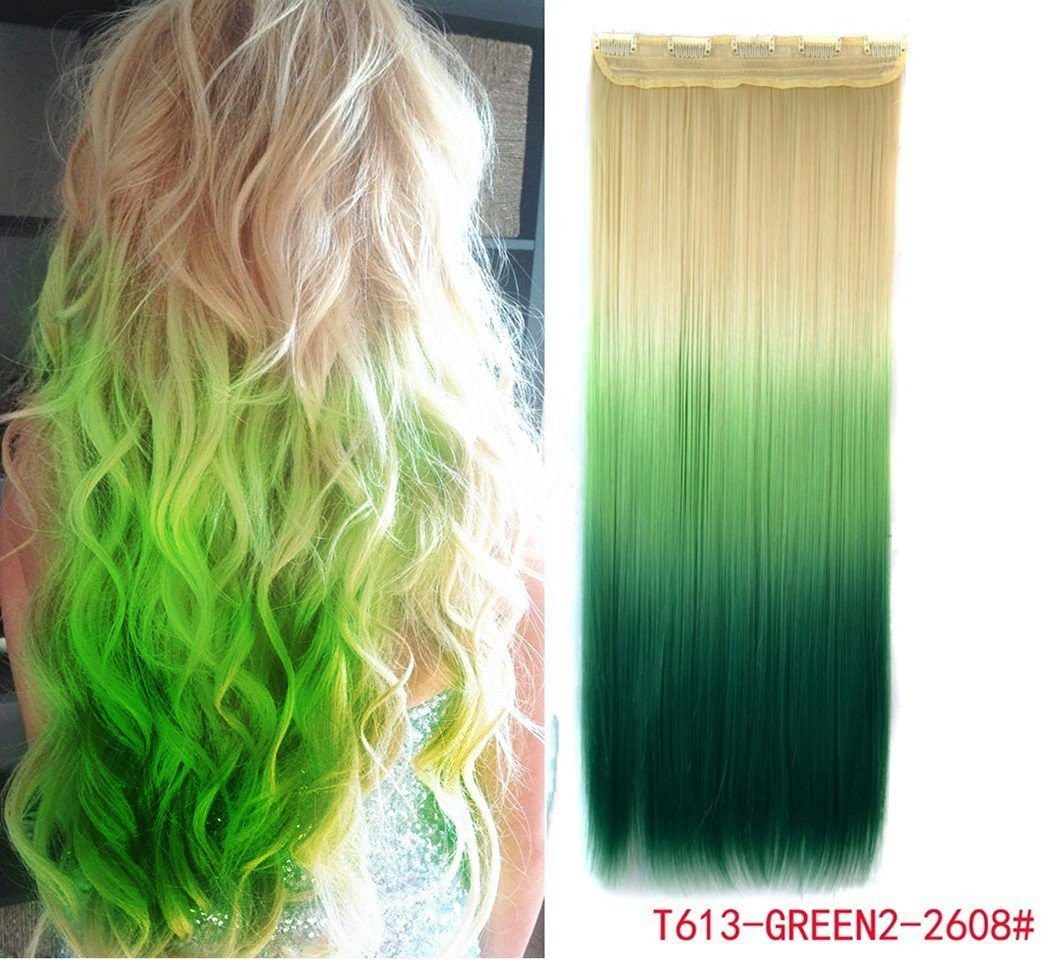 Buy White Blonde To Green Three Colors Ombre Hair Extensions