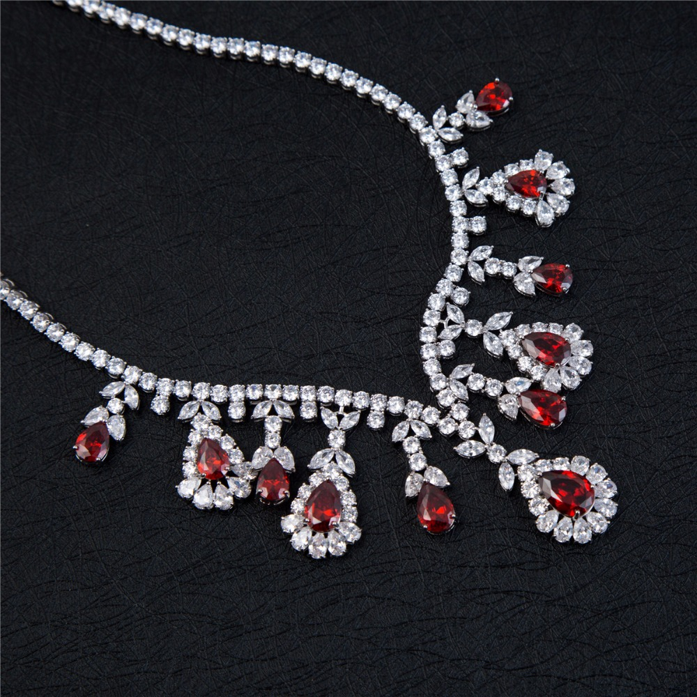Exquisite Ruby Necklace Earring Set Cubic Zircon Bridal Jewelry Sets Product On Alibaba