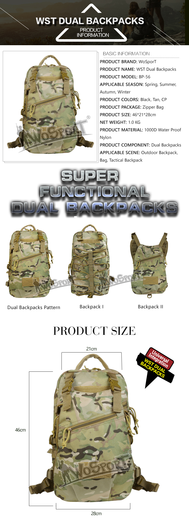 WoSporT outdoor tactical system nylon hiking military backpack bags for custom