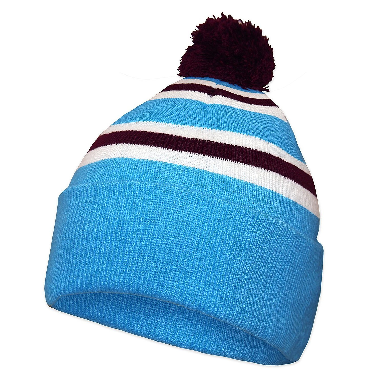 Get Quotations · Aston Villa Colours Soccer Gift Retro Knitted Beanie Bobble  Hat 58d092303a9