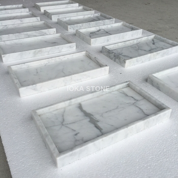 Decorative Jewelry Trays Carrara White Marble Tray For Wedding/ Bedroom/  Bathroom