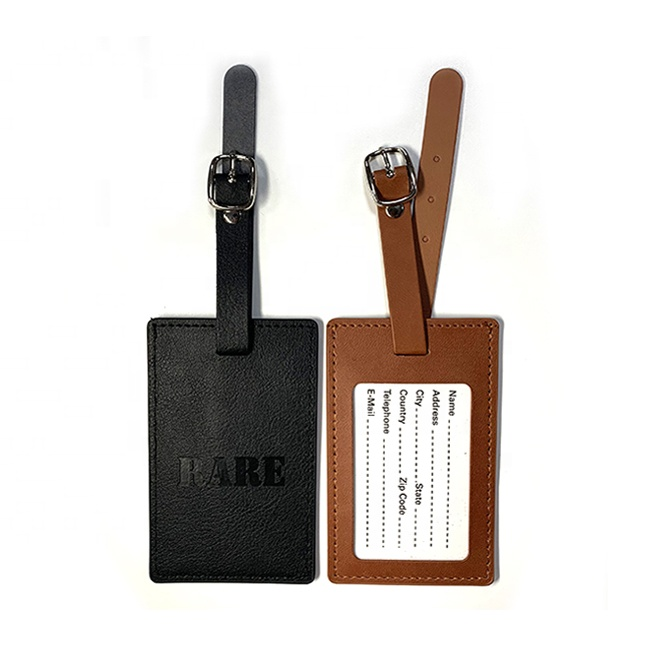 oem maker custom logo embossed wedding favor gift airplane travel suitcase brown black pu faux leather luggage tag