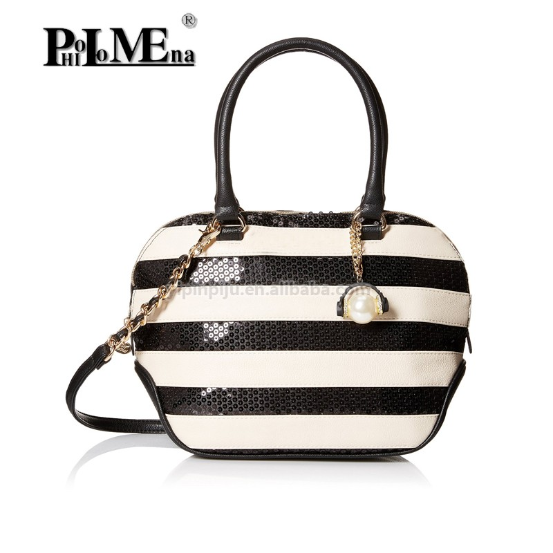 2016 lady pu tote handbag Johnson Sequin Satchel Bag women bags handbag oem supplier