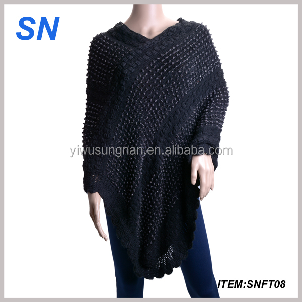 black and white knitted shawl for women