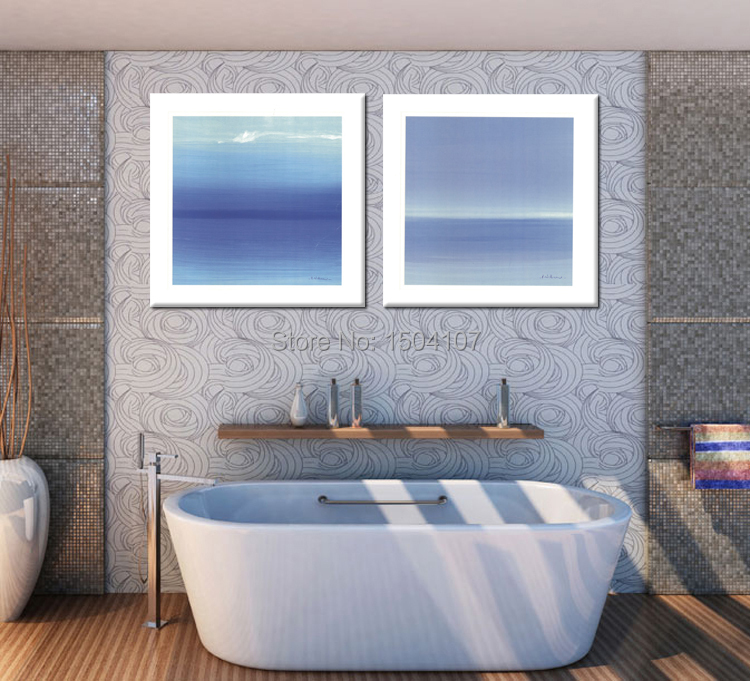 Abstract minimalist wall art pictures canvas print paintings modern fashion home decorations 2pcs/set pure blue