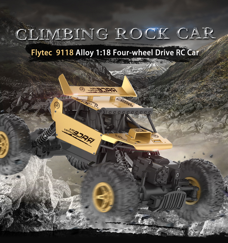 Flytec 9118 High Speed Off-Road RC Car 1:18 Scale 2.4GHz Truck 4WD Electric Racing Cars Fast Rock Crawler