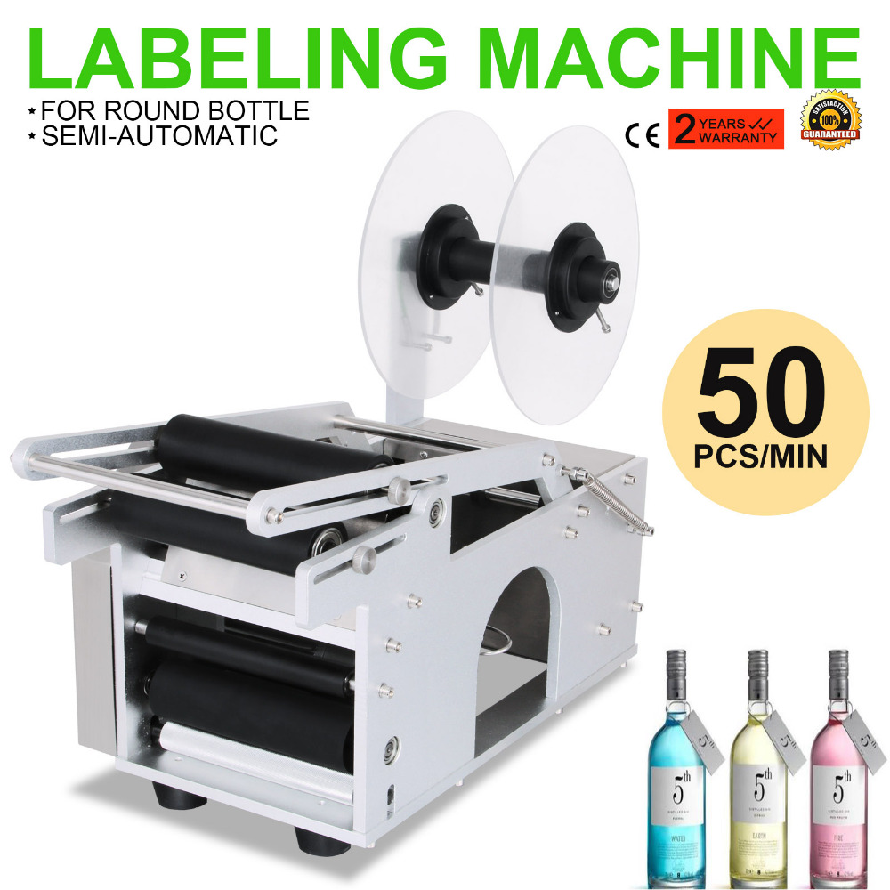 Adhensive Printer With Round Electrical MT-50 Semi-Automatic Round Bottle Labeling Machine Power-Save With <strong>Date</strong> Portable