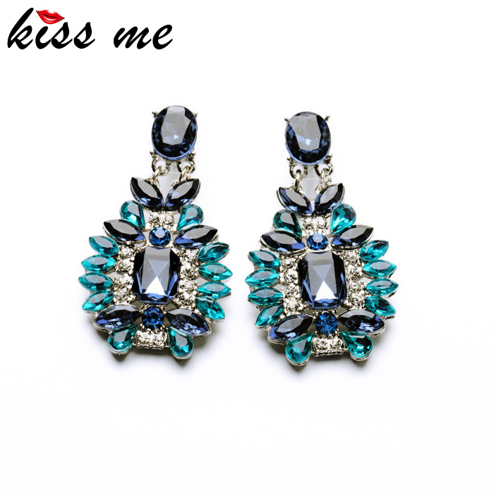 Shijie 2015 Statement Trendy Jewelry Elegant Shiny Resin Stone Blue Plant Stud Earrings Factory Wholesale