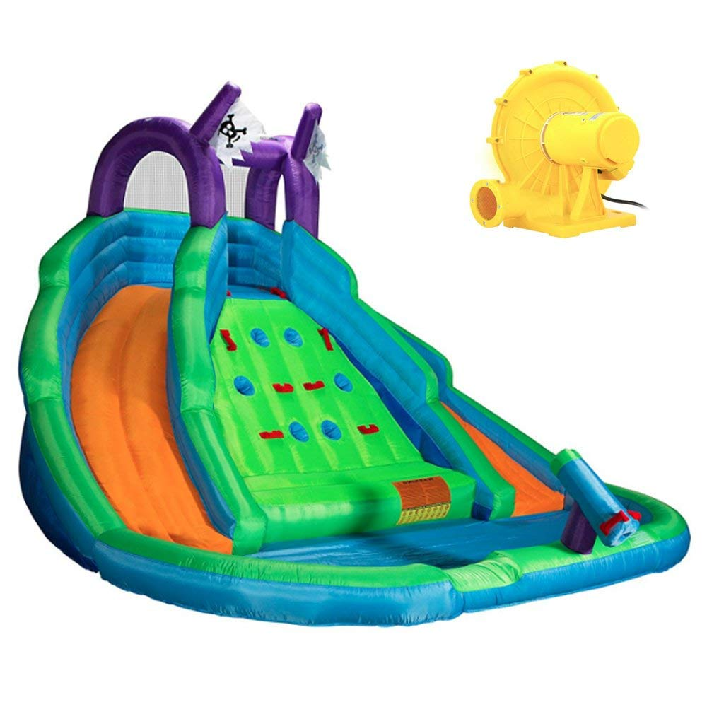 DOVA Big Water Slide For Kids Giant Inflatable Bounce Climbing Wall BUNDLE w/[TM] Blower, Bag And 100 Multi-Colored Plastic Balls