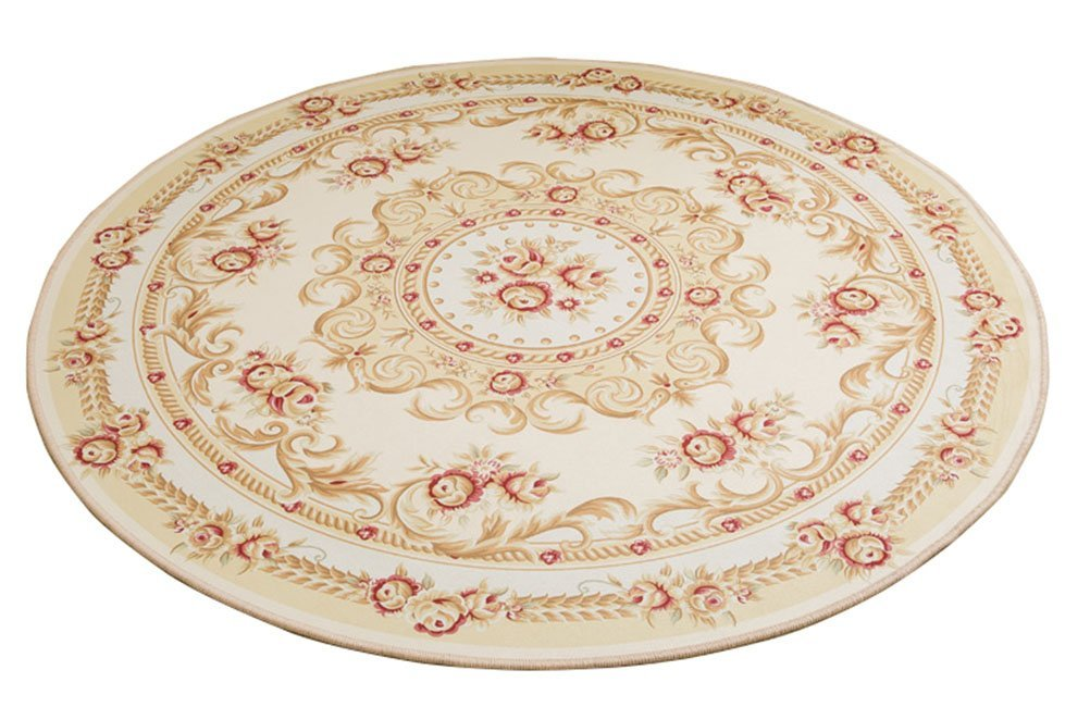 LamourBear European Style Printing Round Floor Rug Heavy Comfort Round Kitchen Floor Mat Non-Slip Round Floor Mat Soft Entrance Mat Door Mat Round Floor Rug Area Rug For Chair Living Room 4'
