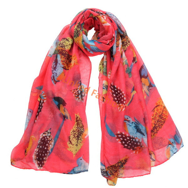 animal voile scarf Birds print scarf owl south africa scarf bufunda stoles shawls