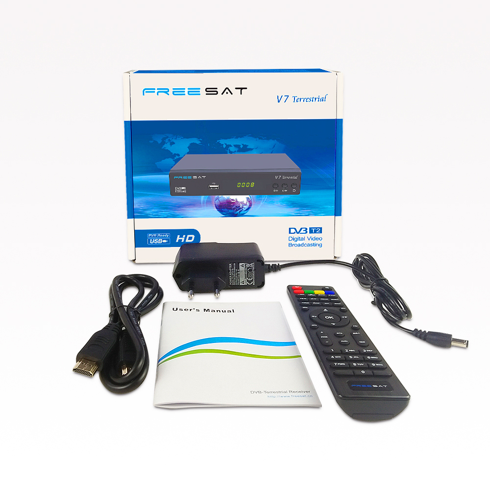 Freesat V7 Terrestrial Satellite Receiver DVB-T2 Myanmar Set Top Box Support WiFi Dongle USB HDD