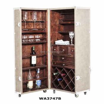 Antique Steamer Trunk Bar Cabinet