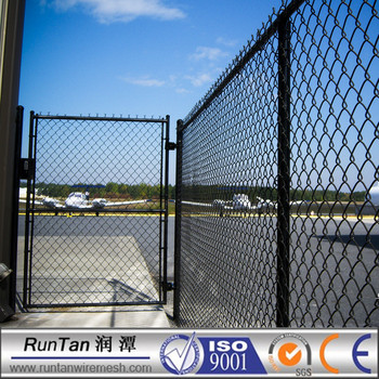 Black Vinyl Coated Plastic Chain Link Fence With Gate 6 Ft