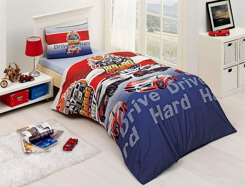 5ab03e3f3360 Get Quotations · Bekata Drive, 100% Cotton Cars Bedding Set, Cars Themed Boys  Bedding Single/