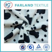 china hot selling Cow spots Printed pv plush fabric for art quilt, Excellent Home Textile/Bedding Set