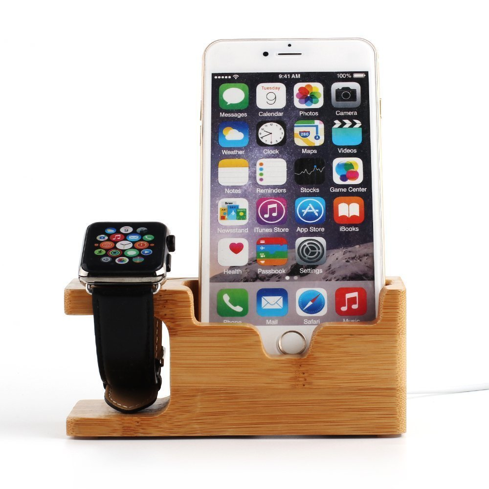 TuoP@Cell Phone Charger Dock with Watch Holder Desk Wooden Charging Stand 2 in 1 Bamboo Charging Stand Support Holder for Apple Watch for iPhone 7/7 plus/ 6s/6s Plus/6/6Plus/5s/5c/5