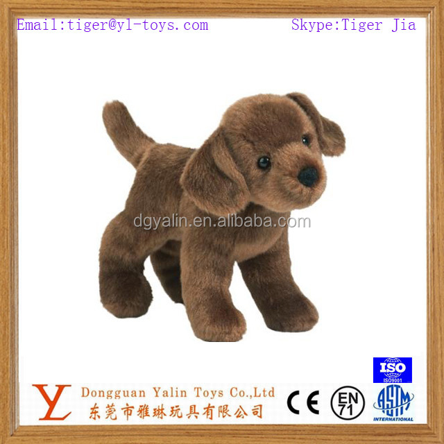 Realistic fancy plush animated brown labrador dog toy for kids