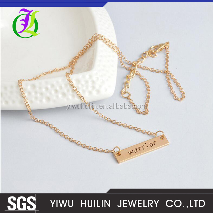 JTBC0007 Yiwu Huilin Jewelry Fashion creative warrior inspirational friends necklace Europe and the United States jewelry