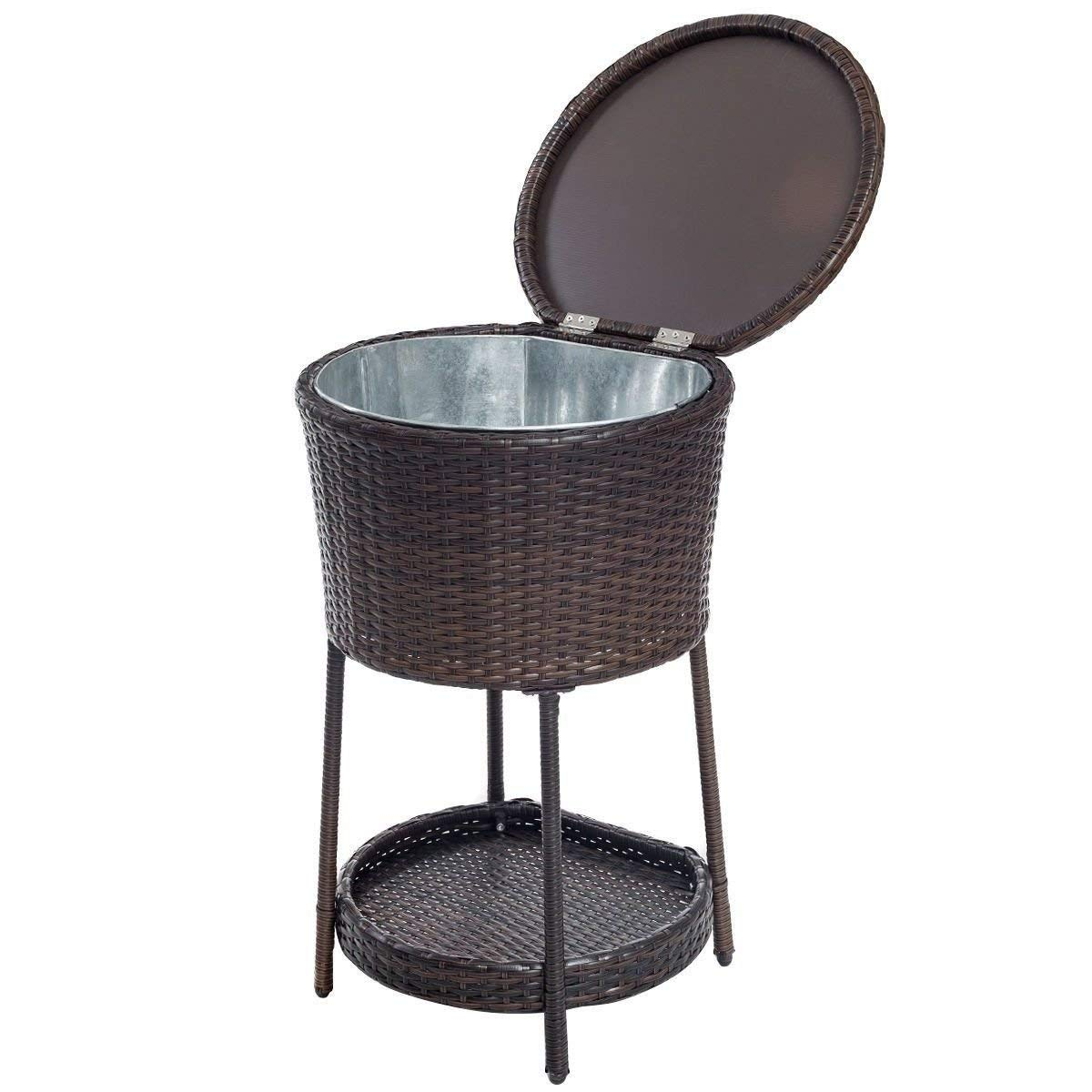 Get Quotations · Brown Resin Wicker Outdoor Patio Cooler Ice Bucket Chest  Bin Beer Tub Weather Resistant Patio Furniture