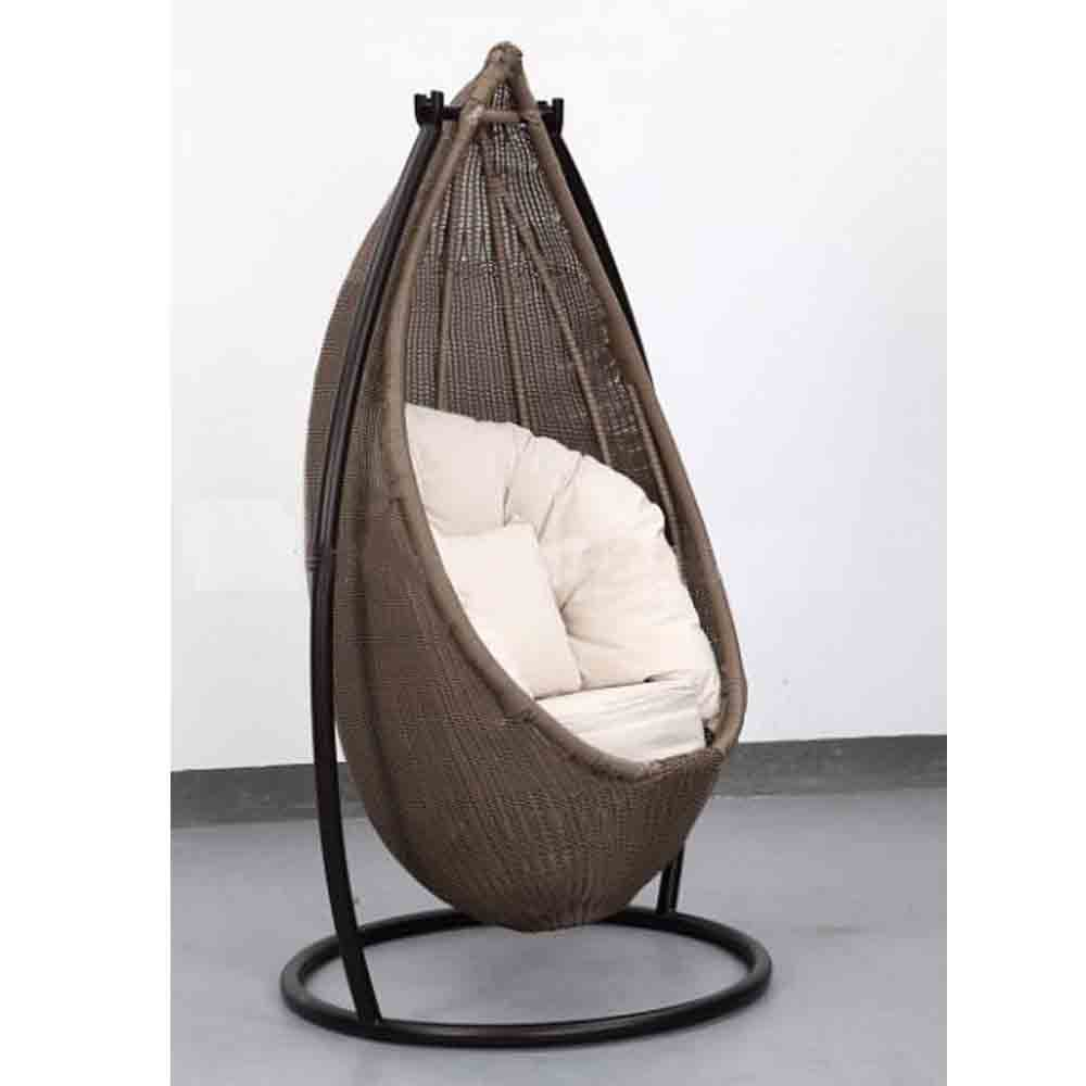 Vivere Double Cotton Hammock with Space-Saving Steel Stand Tropical