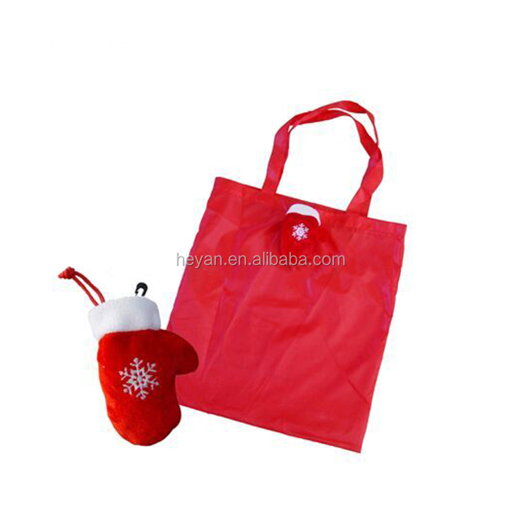 Personalized Logo Folding Polyester Shopping Bag for Christmas