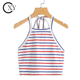 Custom Ladies Slim Fit Multicolor Stripe Crop Self Tie Halter Tops