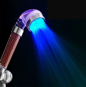 Water Saving and Increase Pressure 3 Colors Temperature Control Romantic LED Shower Head