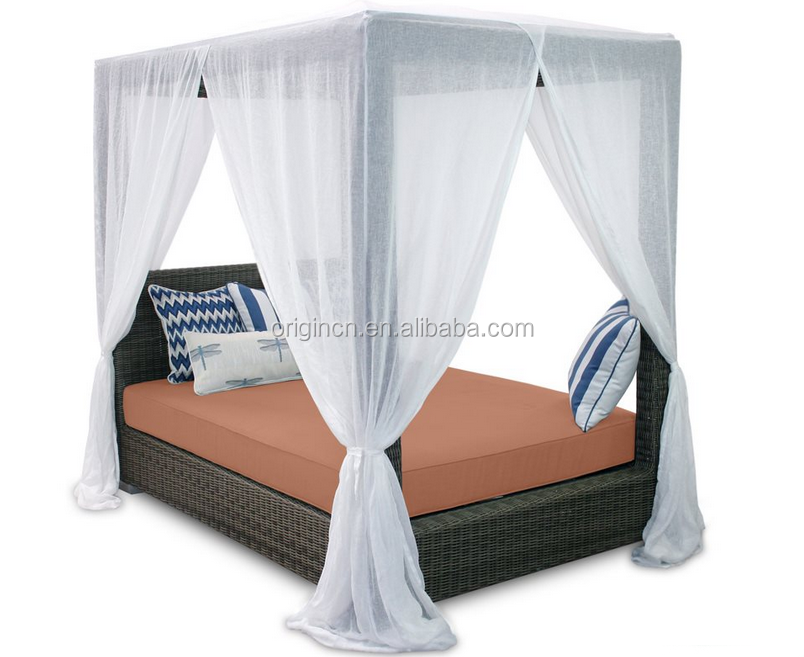 Hotel indoor or outdoor balcony use sun fun lounge sleeping furniture rattan canopy luxury daybed