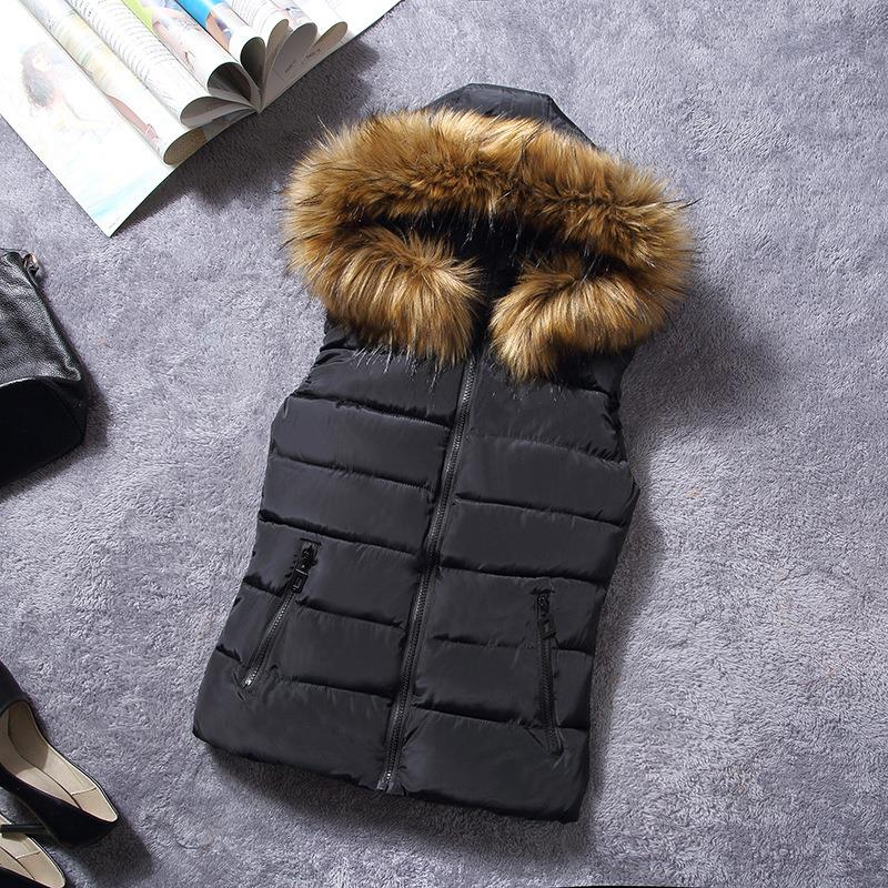 womens puffer vest faux fur vest with hood arrival winter ...