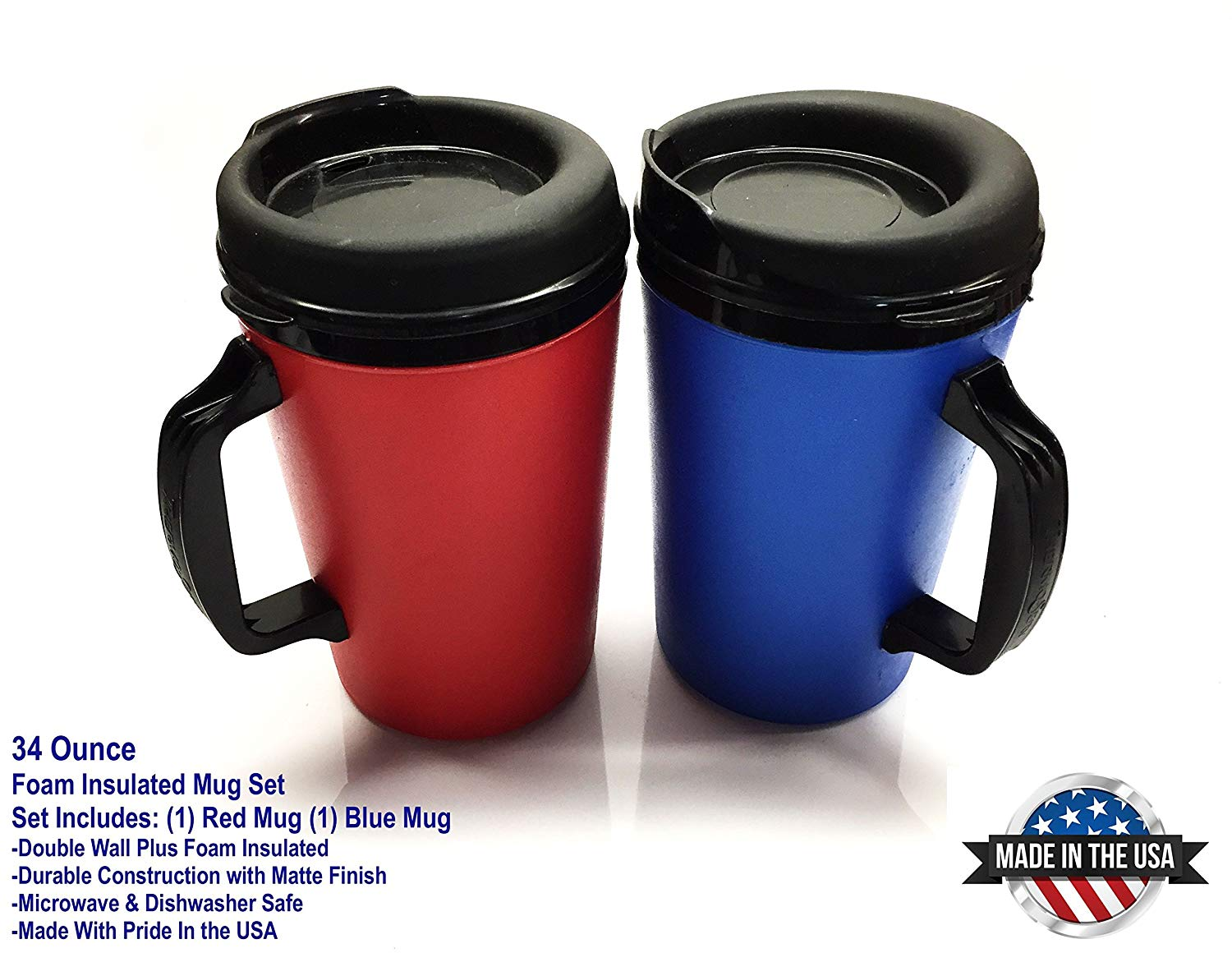 Get Quotations 2 Thermoserv Foam Insulated Coffee Mugs 34 Oz 1 Blue