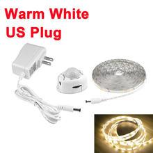 AIMENGTE LED датчик движения шкаф кровать лампа под шкаф ночник гибкая светодиодная лента 12V лента 110V 220V США ЕС вилка(Китай)