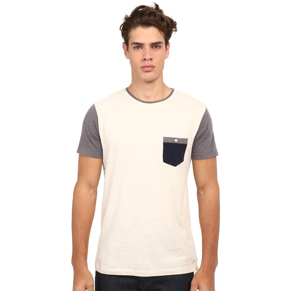 Black Plain Pocket With Print Cotton T-shirt For Men In Bulk