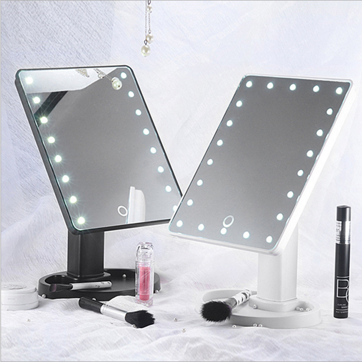 16/22 Lights LED Make Up Mirror Cosmetic Portable Compact Lighted Large Led Mirrors Desktop Vanity White Pink Black Makeup Tools